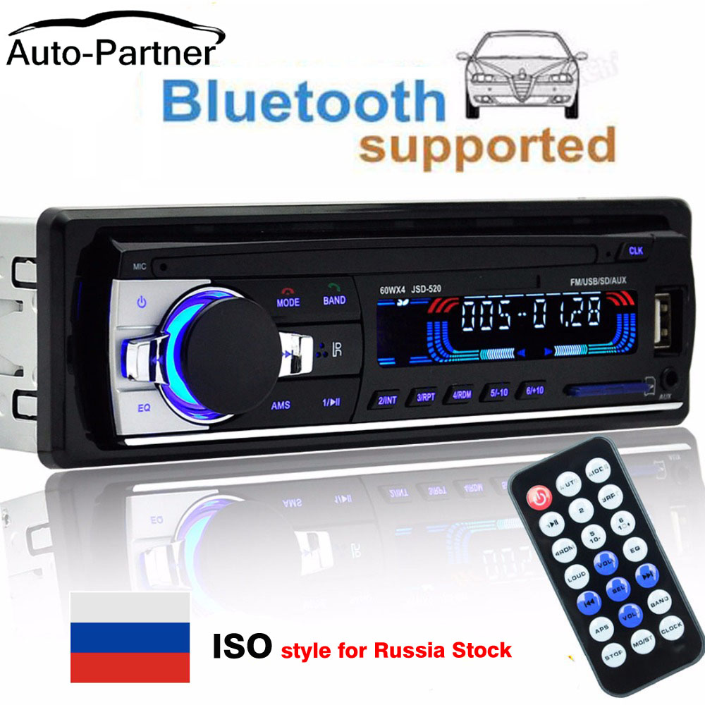 Autoradio 12 v 1 din Jogador som do carro Do Bluetooth Rádio Do Carro Do Telefone AUX-IN MP3 FM/USB/radio remote controle De Áudio Do Carro Do telefone