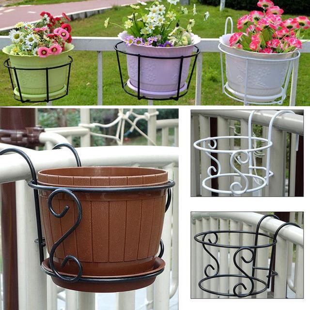 Balcony Hanging Flower Pot Tray Iron Racks Home Garden Decorative Plant Pots Holder Outdoor Vertical Garden