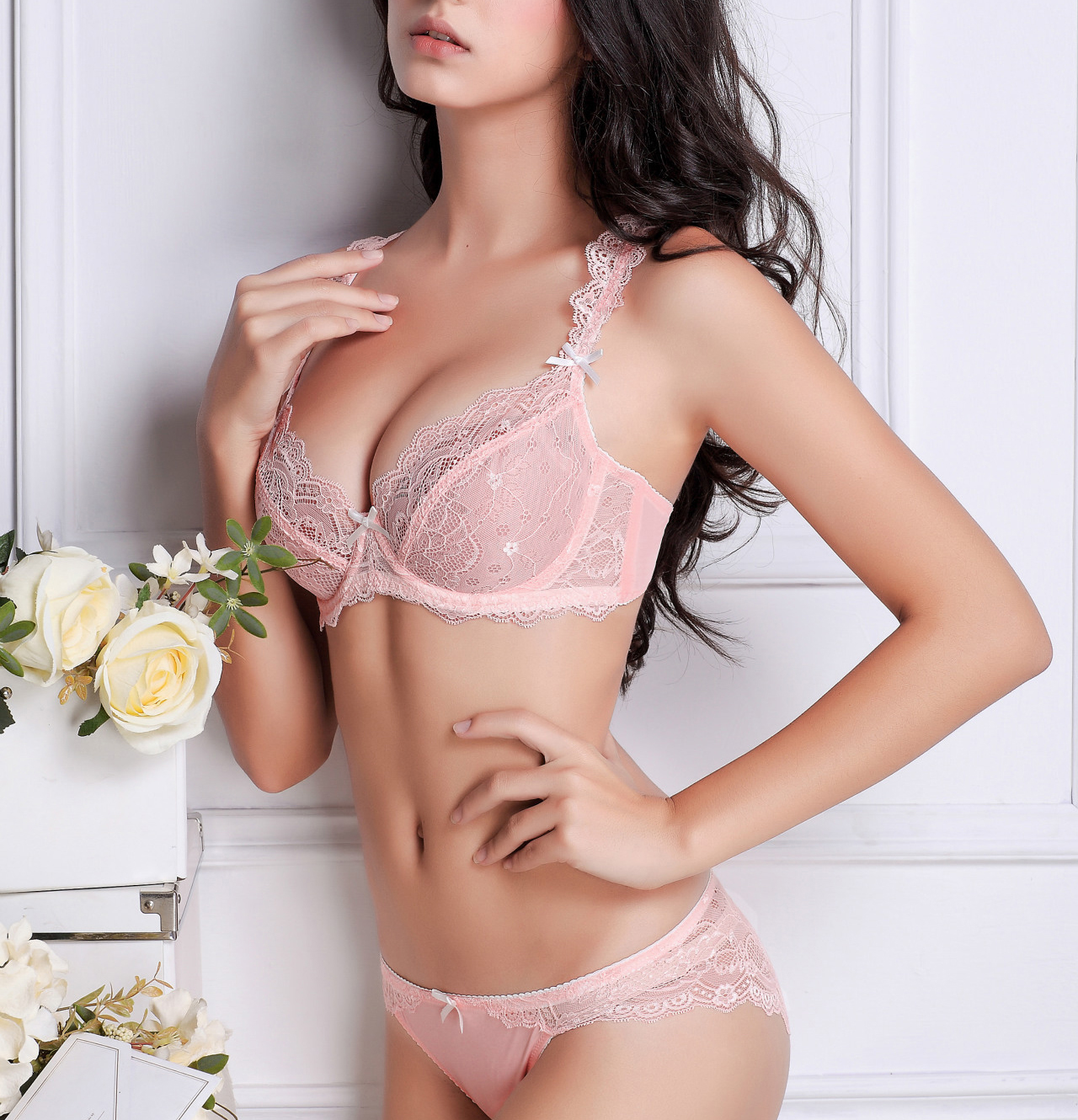 Pink Bra Set 2017 Underwear Women Sheer Lace Sweetheart Ultra-thin  Transparent Sexy bra panty e0ce48acf