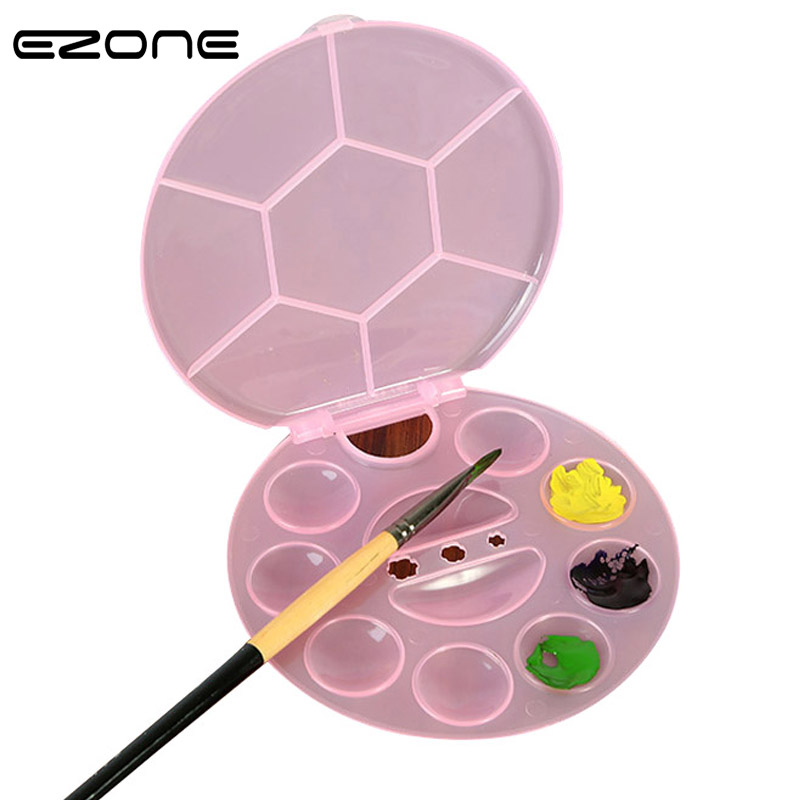 EZONE 17 Grids Paletter For Watercolor Oil Gouache Acrylic Painting Candy Color Circle Paletters Drawing Tray Pallet Art Supply