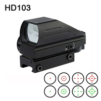 Hunting Optics 1x22x33 Compact Reflex Red Green Dot Sight Riflescope 4 Reticle Sight For Airsoft Weaver