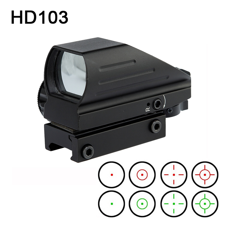 Hunting Optics 1x22x33 Compact Reflex Red Green Dot Sight Riflescope 4 Reticle Sight for Airsoft Weaver 11mm Mount airsoft.gun hunting sports riflescope optics holographic green red dot reflex sight with 4 various reticle 20mm rails mount
