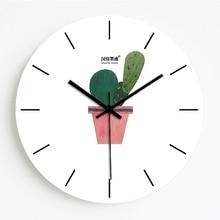 Зеленый лист завод настенные часы Творческий бескаркасные бесшумные часы Nordic свежий личность гостиная кухня декоративные настенные часы