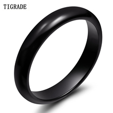 Tigrade 4mm Black Ceramic Ring for Man Engagement Wedding Rings Fit Men Women Couple Jewelry bague homme anillos mujer