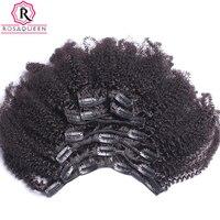 Clip En Extensiones de Cabello Humano Afro Rizado Rizado 4B 4C Rosa Reina Remy Ins Clip de Cabello Natural Humano brasileño Completo cabeza