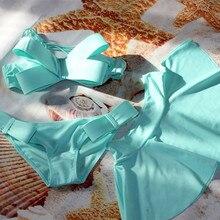 Женский купальный костюм, бразильский комплект бикини+ юбка, 3 штуки, купальник, купальник,, Одноцветный, с большим бантом, бандо, пляжная одежда, купальники