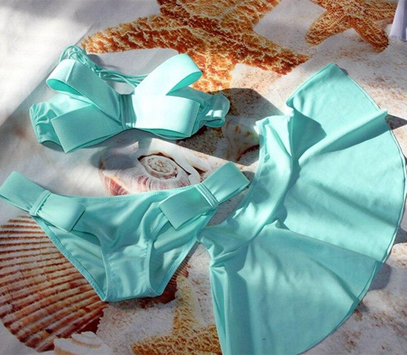 Women Swimming Suit Brazilian Bikini Set + Skirt 3 Pieces Swimsuit Swimwear 2019 Solid Big Bow Bandeau Beachwear Swimming Suits