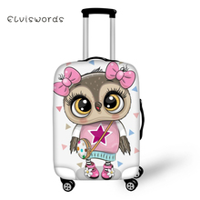 ELVISWORDS Travel Luggage Cover Cute Owl Printed for Suitcase Protective Elastic Stretch to 18-30 Case Dust Protector