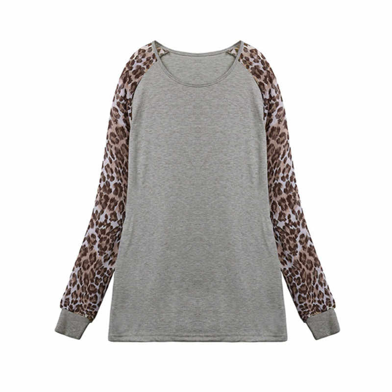 c30c9f72003e9 ... Leopard Women Top Bluases 2018 Long Sleeve Patchwork Shirt Tunic Tee  Nice Shirt Femme Blusas Mujer ...