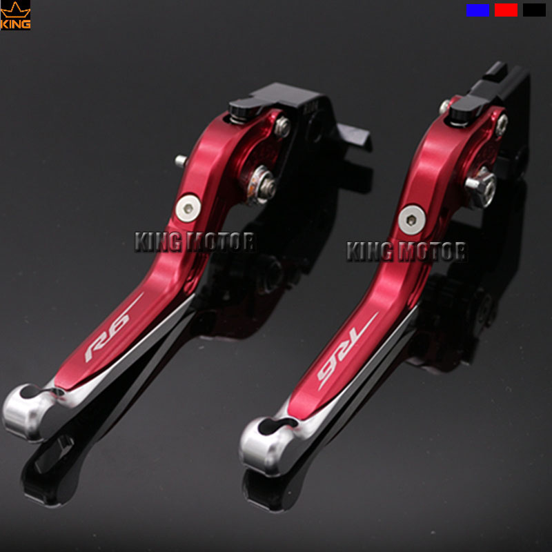 ФОТО For YAMAHA YZF R6 YZF-R6 2015-2016 Motorcycle Accessories CNC Aluminum Folding Extendable Brake Clutch Levers Red