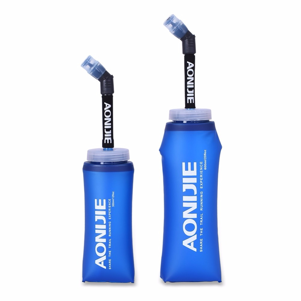 New Arrival Outdoor Sport Bottle Outdoor Foldable TPU Soft Long Straw Travel Sport Camping Hiking Walking Running 350ML 600ml