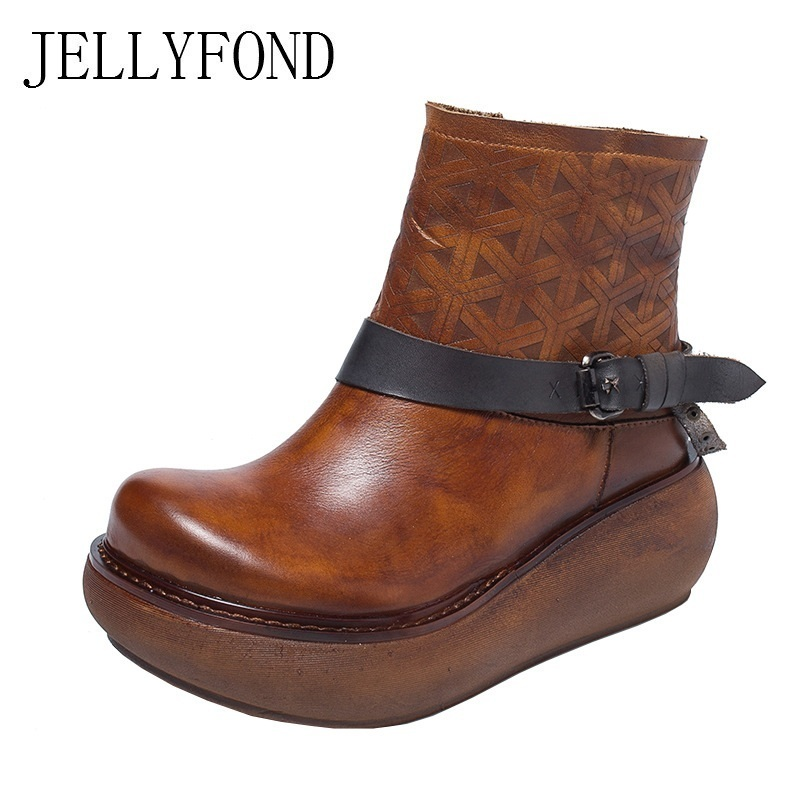 JELLYFOND 2018 Genuine Leather Platform Wedge Boots Handmade Designer Autumn Winter Shoes Women Cowhide Buckle Strap Ankle Boots jellyfond designer autumn winter shoes woman 2018 handmade genuine leather big bow platform high heels ankle boots chelsea boots