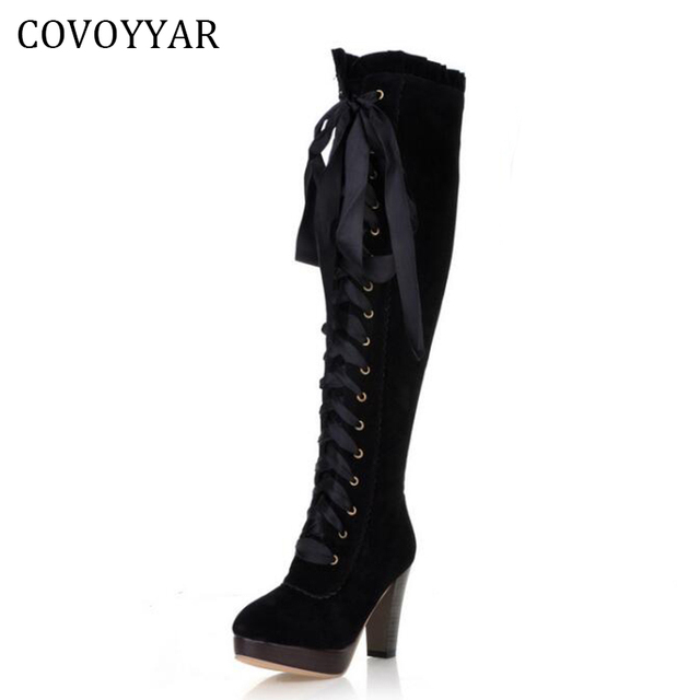 2018 Fashion Knee High Boots British Women High Heeled Riding Knight Boots Fall Winter Lace Up Women Shoes Sizes 34-43 WBS579