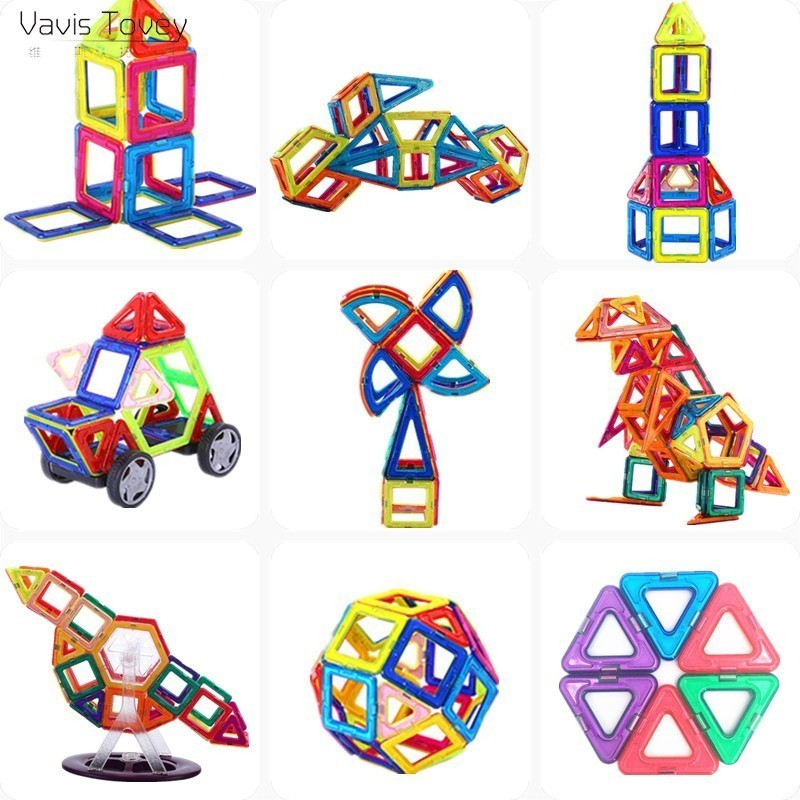 Vavis Tovey Mini 139PCS Magnetic Building Blocks kits free sticker Magnet Designer Construction Toys Kids brinquedos gift