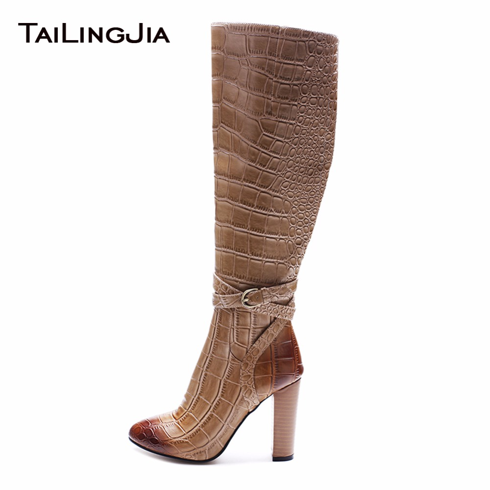 High Quality Stone Print Retro Woman Knee Boots With Zipper Round Toe High Heel Block Heel Ladies Boots With Soft Fur Winter High Quality Stone Print Retro Woman Knee Boots With Zipper Round Toe High Heel Block Heel Ladies Boots With Soft Fur Winter