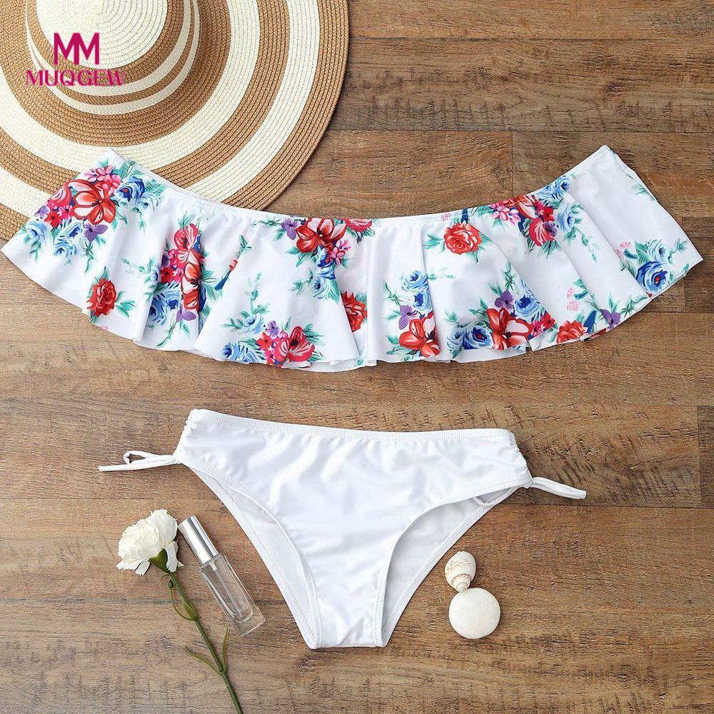 Women lingerie Underwear Off Shoulder Ruffle Set Padded Bra Swimwear Bathing conjunto de sujetador y panty Black white High Wais
