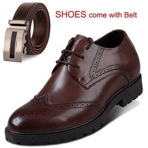 Новые мужские туфли-броги в стиле Дерби под вечернее платье, увеличивающий рост с внутренним каблуком и толстой стелькой, обувь для свадебн...