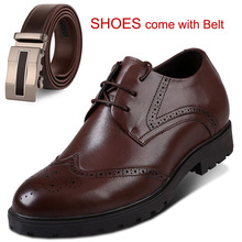 New Men's Brogue Derby Formal Dress Shoes Height Increasing Elevator Sh