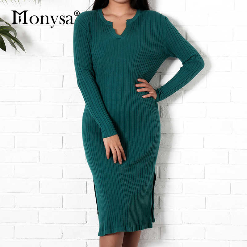 b656404af7b Casual Knitted Dress Women 2018 Winter New Arrival Fashion V Neck Long  Sleeve Loose Dresses Ladies