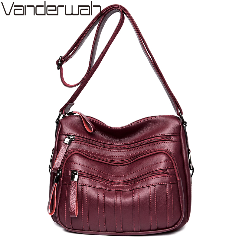VANDERWAH Brand Fashion Soft Leather Shoulder Bags Female Crossbody Bag Portable Women Messenger Bag Tote Ladies Handbag SAC 2017 new brand womens fashion shoulder bag leather bag clutch handbag tote purse hobo messenger female portable bags a8