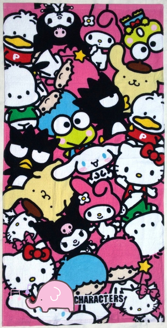 Japan Cartoon Melody Rabbit Friends Pink Cute Cotton Bath Towel Baby Birthday Christmas Gift 60cm