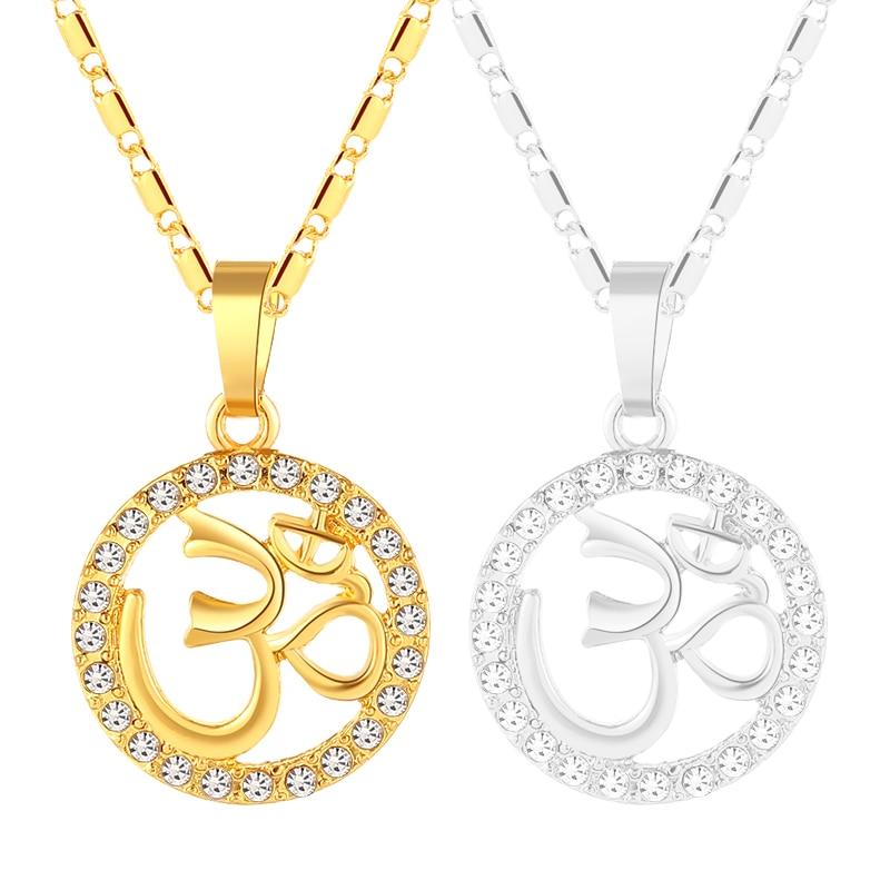 Or Couleur Cristal Rond Bouddhiste Hindou Aum Om Pendentif Collier Hindouisme Yoga Inde Sport En Plein Air Femmes Bijoux