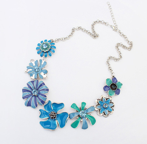 2016 Fashion Bohemian Statement Jewelry Colorful Small Daisy Crystal Flowers Necklaces & Pendants Maxi Jewelry Necklaces Women image