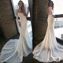 Junoesque jewel decote sereia vestidos de casamento com contas de renda apliques mangas compridas aberto voltar magro vestido de noiva