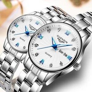 Image 1 - GUANQIN Fashion Couple Watch Set Stainless Steel Men Women lovers Watch Luxury Blue Quartz Watch Women Clock Ladies Wrist Watch
