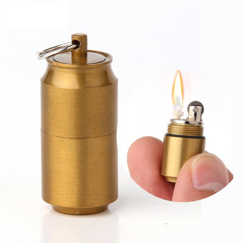 20pcs lot Mini Gasoline Lighter Key Chain Capsule Compact Kerosene Lighte rInflated Keychain Oil Lighter Grinding