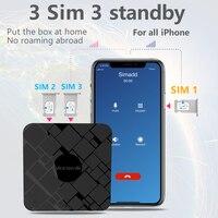 Не роуминг за рубежом SIMadd 3 SIM 3 Режим ожидания активируется онлайн в то же время для iPhone 6/7/8/X iOS 7-12 SIM дома, не нужно носить с собой