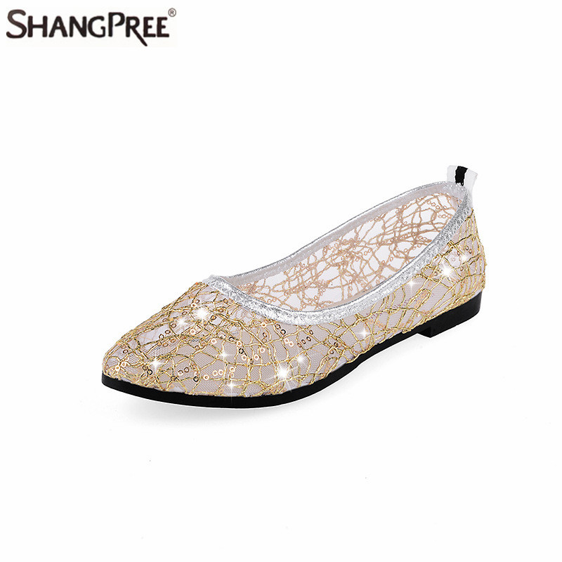 New Women Lace Rhinestones Breathable Flats Shoes For Ladies Summer Hollow Sandals Woman Comortable Casual Flat Shoes women s shoes 2017 summer new fashion footwear women s air network flat shoes breathable comfortable casual shoes jdt103