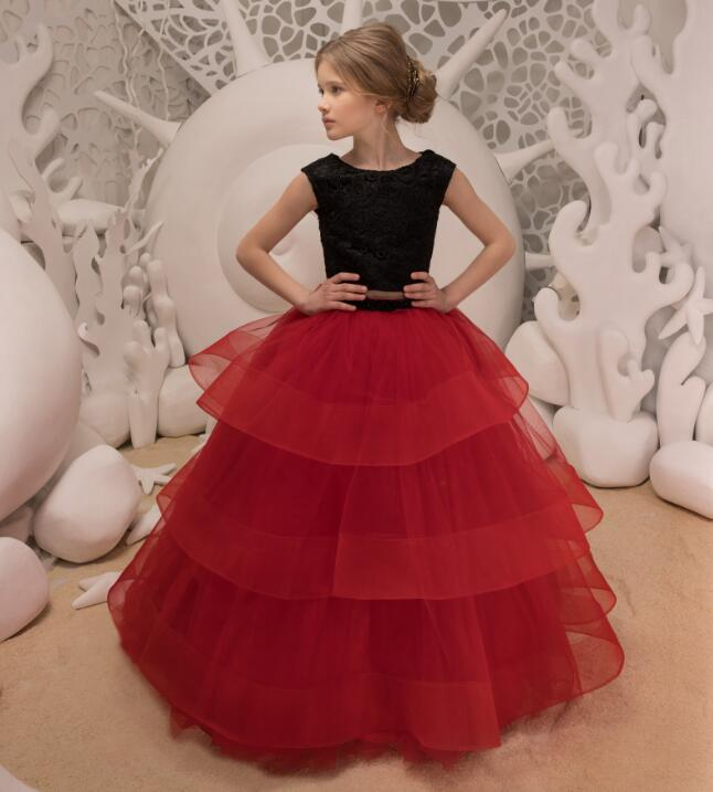 New Two Pieces Girls Dresses Black Lace Red Puffy Tulle Long Party Pageant Gown Birthday Dress for Little Girls Size 2-16Y