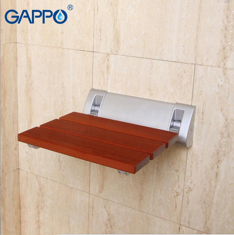 GAPPO Wall Mounted Shower Seats Solid wood folding chair shower ...