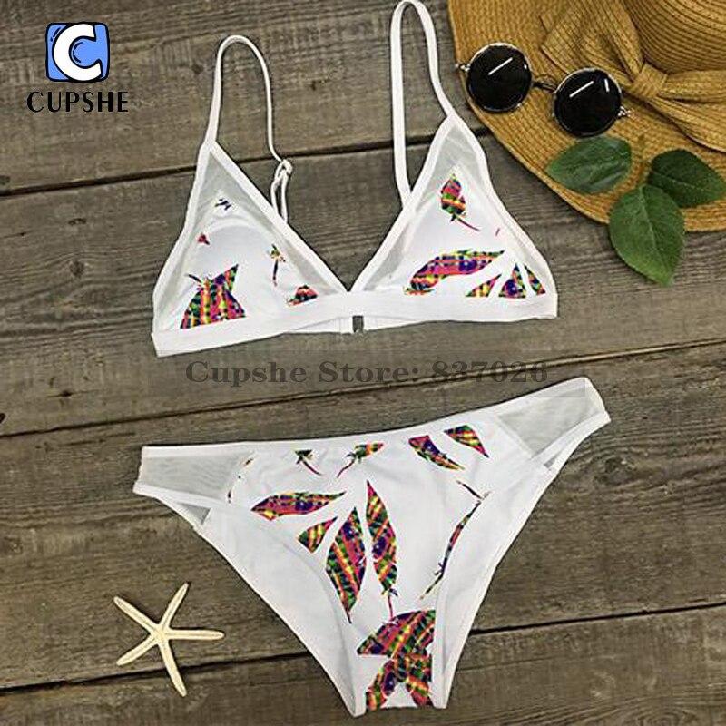 Cupshe Grey Bomb Mesh Bikini Set Swimsuit Women Summer Sexy Swimsuit Ladies Beach Bathing Suit swimwear