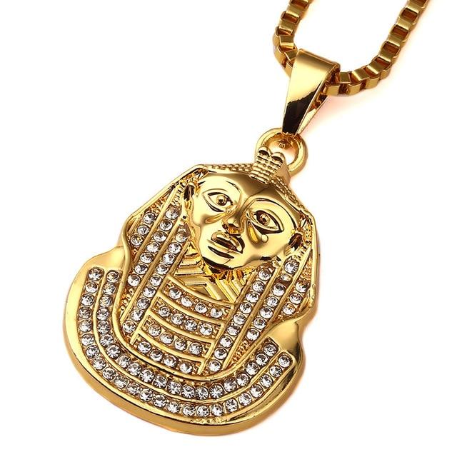 Classic hot sale last king hip hop necklace yellow cubic zirconia classic hot sale last king hip hop necklace yellow cubic zirconia pharaoh head pendant necklace for aloadofball Images