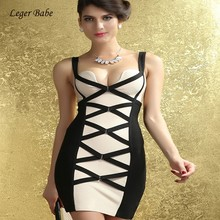 0680a9fd865 New Women Top Quality Fashion Summer Patchwork V Bar Spaghetti Strap  Clubwear Celebrate Party Bandage Mini Dress Leger Babe