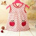 Monkids venta caliente summer baby girl dress 0-1 años cumpleaños princesa infantiles dot vestidos recién nacidos baby girls cutton ropa