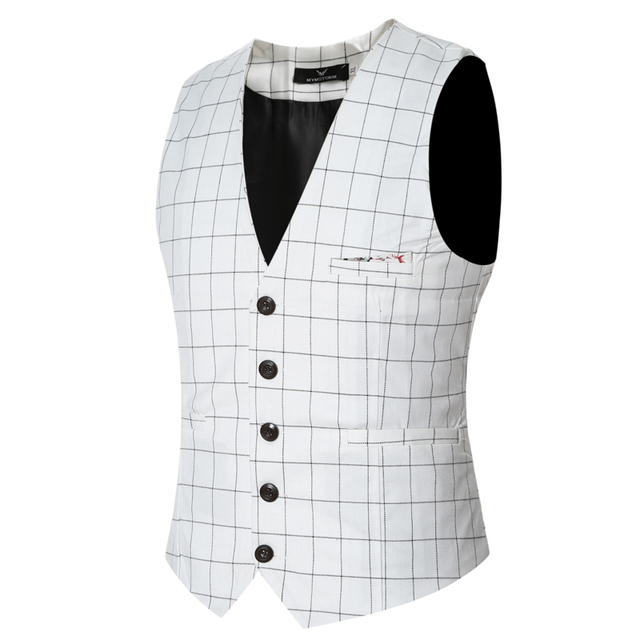 2016 new arrival slim fit plaid waistcoat men casual good quality  4 colors sleeveless dress vests for men size m-3xl