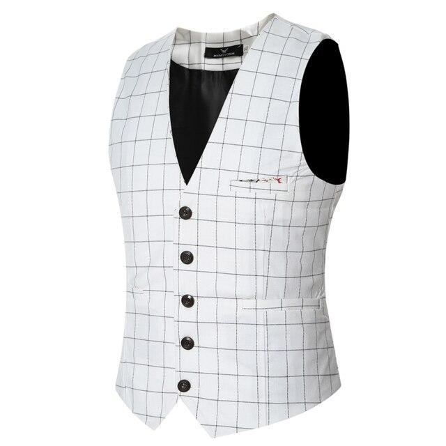 2016 nueva llegada slim fit plaid chaleco de los hombres ocasionales de buena calidad 4 colores sin mangas chalecos de vestir para hombres tamaño m-3xl