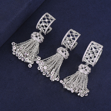 Personality Geometric Shape CZ Inlaid Indian Wedding Tassel Dangle Earrings Ring Jewelry Sets For Women Engagement