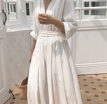 Korean Women Casual Dress Solid Ankle-Length Autumn Party Dress Vestidos Cute Clothing Office Lady Fold Loose Belt Dress