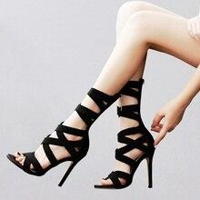 Stretch Fabric Crisscross Sandals High Heel Boots Sexy Black Zipped Gladiator Style Hollow Summer Shoes Stiletto Sandal Bootie black cutout crisscross side zipper sandals