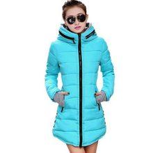 Женщины хлопка-ватник 2016 зима средней длины вниз хлопка плюс размер куртки женские тонкие дамы куртки и пальто AE1333