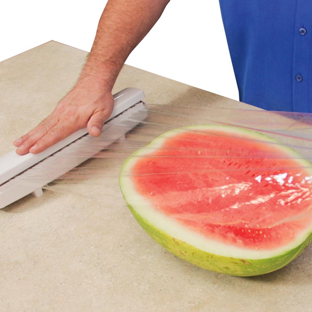 1Pcs Plastic Food Wrap Rols Film Dispenser Stainless Steel Foil Wax Paper Cut Wholesale