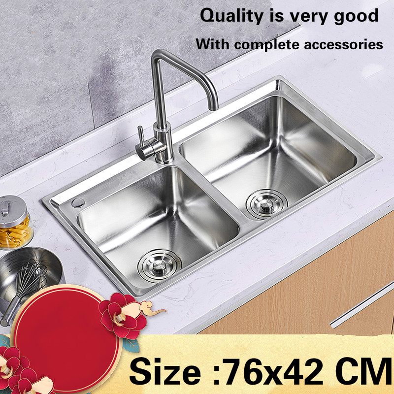 Free shipping  Hot selling standard individuality kitchen double groove sink food grade stainless steel whole drawing 76×42 CM