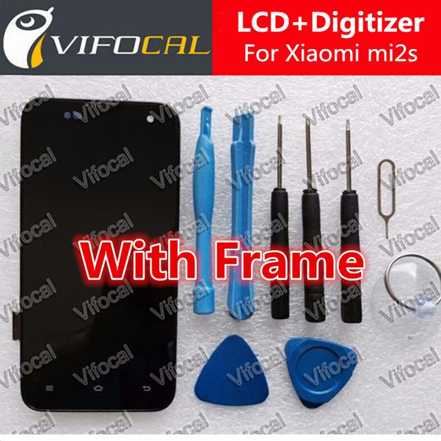 Para xiaomi mi2s display lcd + pantalla táctil con el marco 100% nuevo reemplazo para xiaomi 2 m2 mi2 2 s teléfono móvil + envío libre