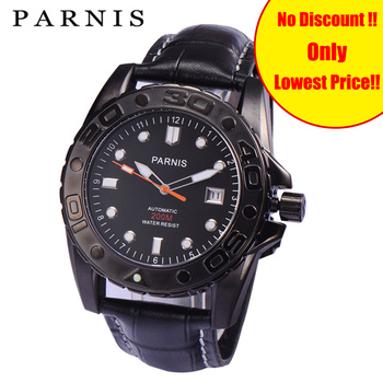 Black Casual Men's Mechanical Watches Parnis 40mm Sapphire Leather 20Bar Water Resistance Automatic Watch Men Man Wristwatch