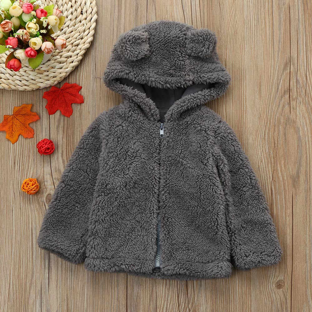 Free Shipping Cute Newborn Toddler Baby Boys Girls Fur Hooded Autumn winter Warm Coat Jacket Thick Clothes Outerwear Gray Other
