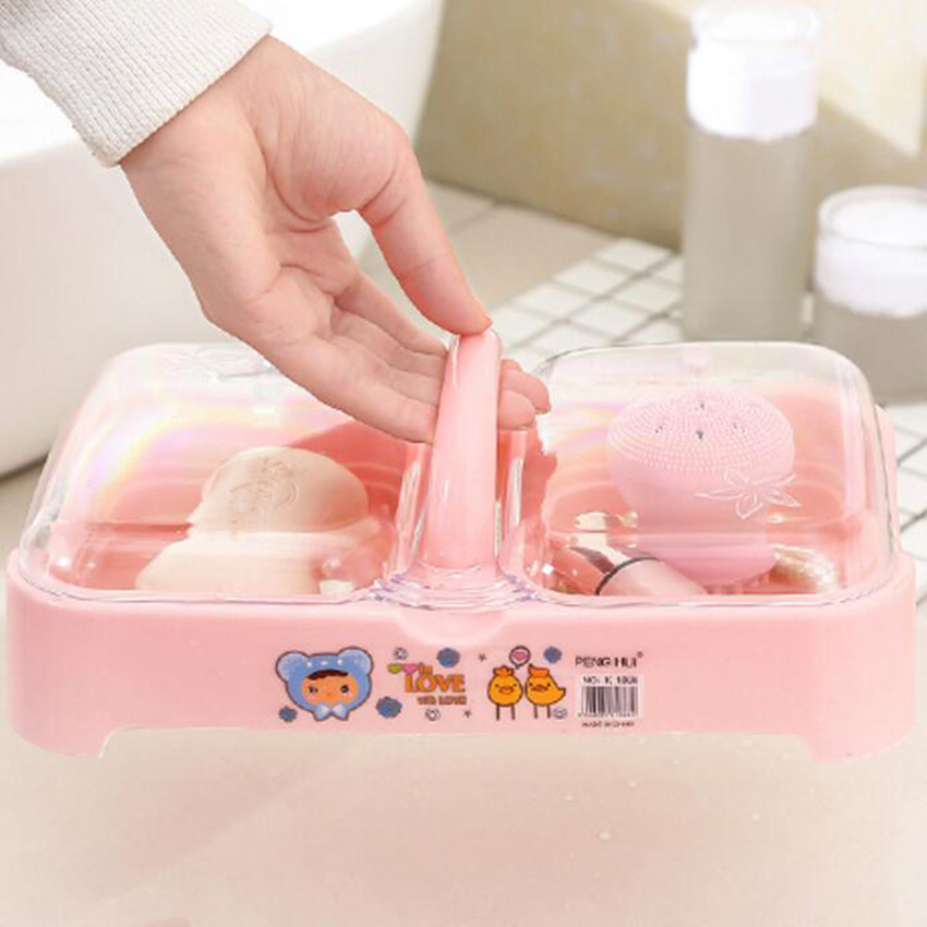 1 Pc Plastic Soap Dish With Cover Double Cells Storage Box Handle Container Waterproof Holder Bathroom Accessories Organizer